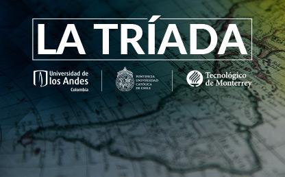 mapa de Latinoamérica con logo de universidades tríada
