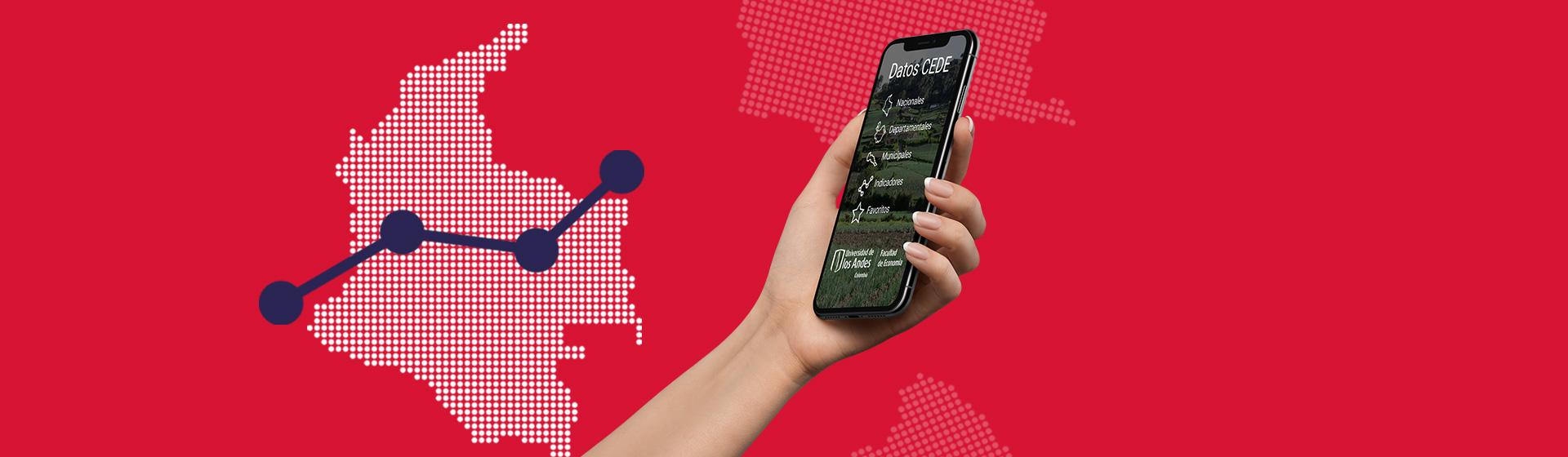Gráfica de un mapa de Colombia y una mano que sostiene un celular
