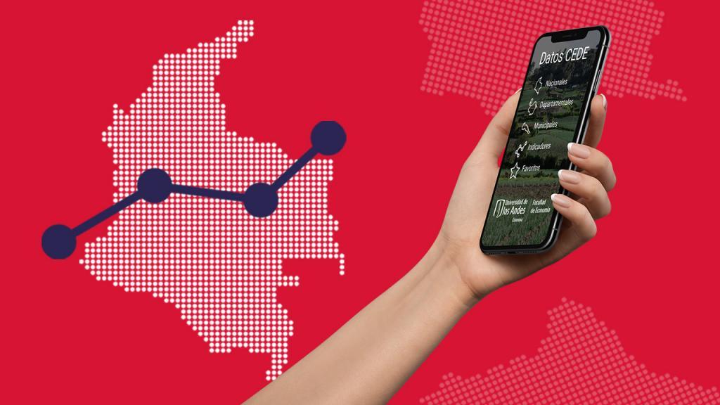 Gráficas de un mapa de Colombia y una mano que sostiene un celular