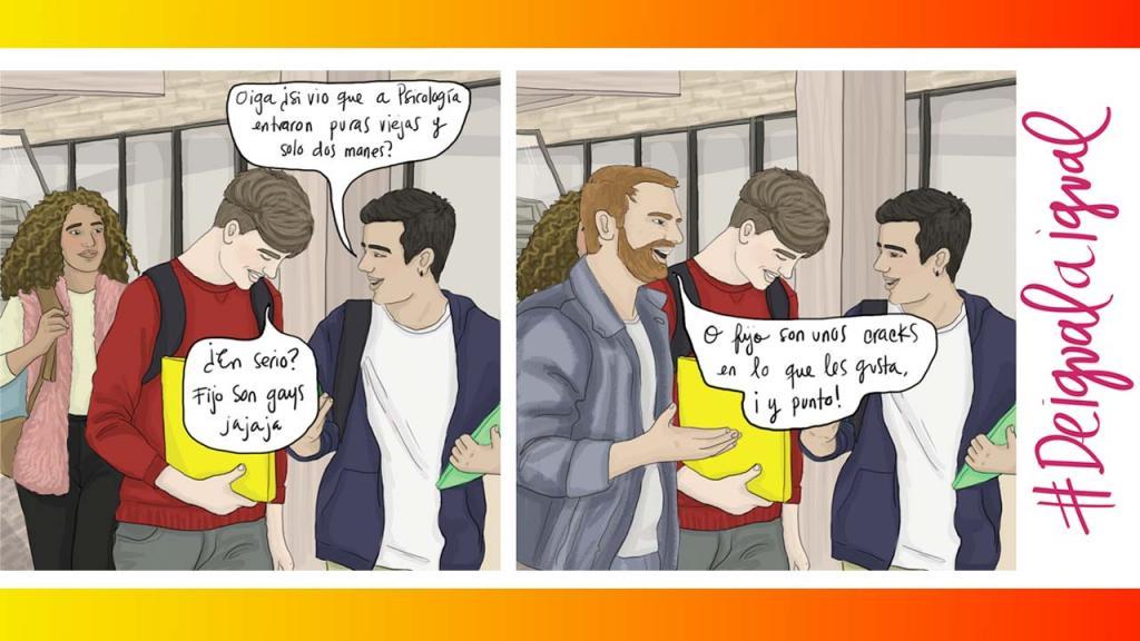 Caricatura de jóvenes en una Universidad