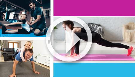 Familias, hombres y mujeres haciendo ejercicio.