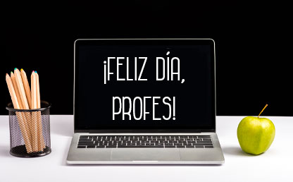 computador con felicitación del día del profesor