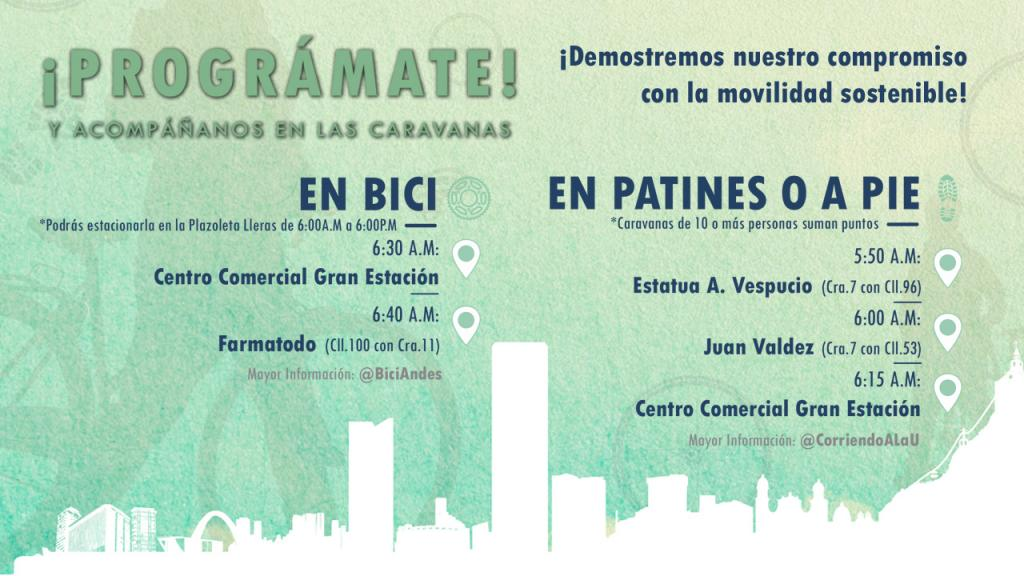 Gráfica de un humano en bicicleta anunciando el día sin carro, en Bogotá. Fondo verde, gráficas azules y se lee
