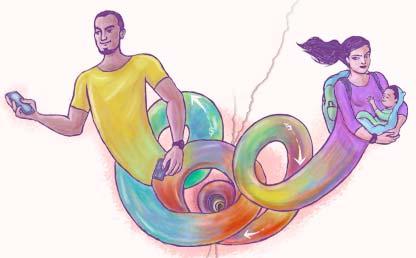 Ilustración hombre y mujer unidos por una espiral.