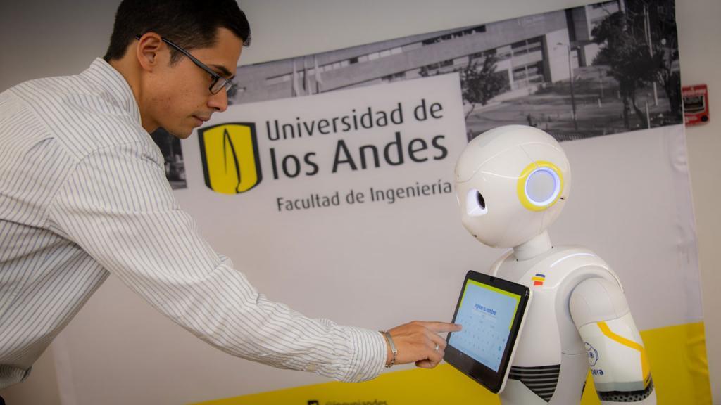Un humano y un robot