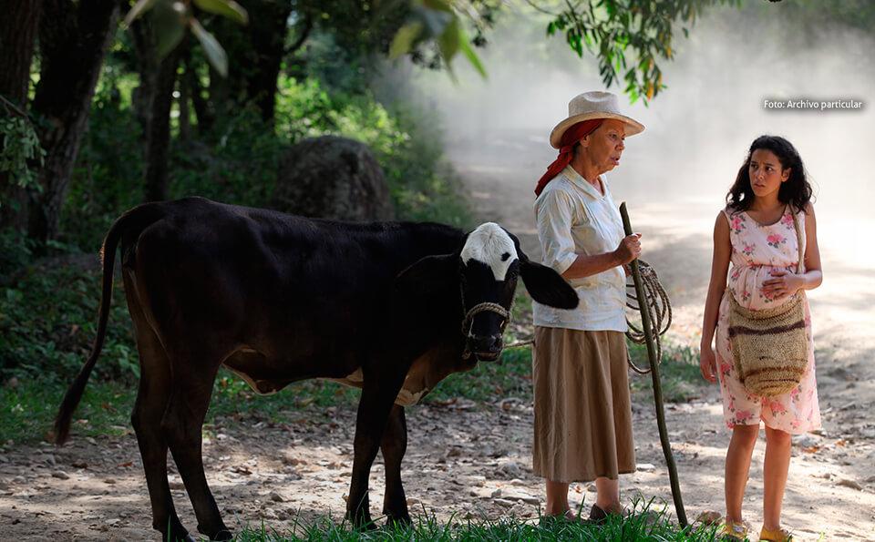 imagen de la pelicula dos mujeres y una vaca