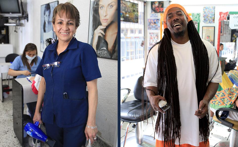 imagen dividida en dos. En la derecha vemos a un peluquero con pañoleta naranja en la cabeza, en la izquieda vemos a una peluquera vestida con uniforme azul