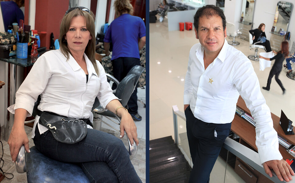 imagen dividida en dos: en la izquierda un estilista sentada en su salón. En la derecha un estilista recostado sobre una baranda de unas escaleras