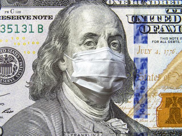 Dólar con el hombre que aparece en el billete con un tapabocas.