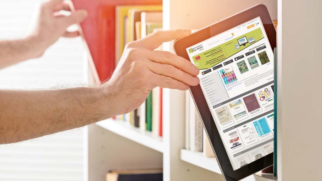 Foto de una tableta con la plataforma de libros digitales