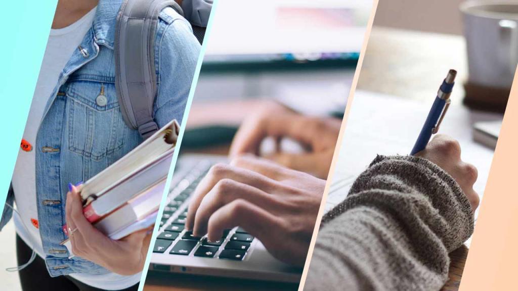 Collage de imágenes de personas estudiando.