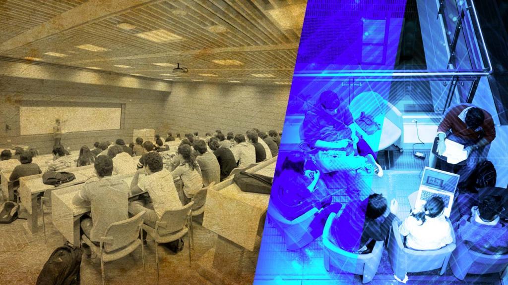 Composición gráfica de una foto con clase catedrática y otra foto de unos jóvenes estudiando en grupo