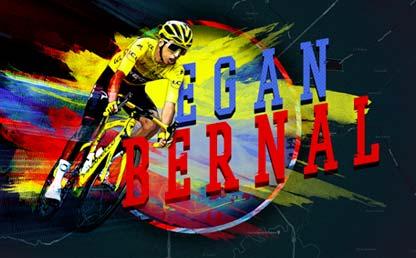 Imagen ilustrada del ciclista colombiano Egan Bernal.