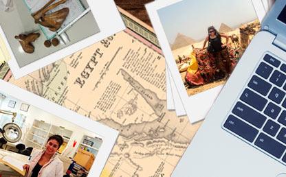 Montaje de mapas, fotos de huesos e imágenes alusivas a Egipto.