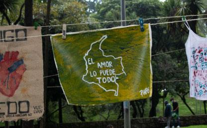 Foto de un mensaje en el tendedero.