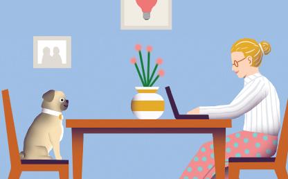 Ilustración de una mujer y su mascota