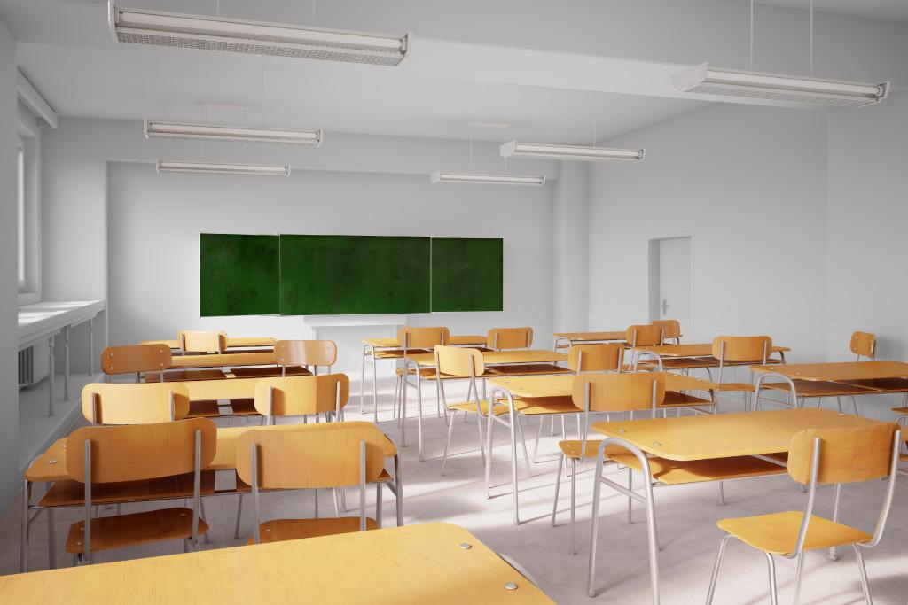 Foto de una escuela vacía por el COVID-19