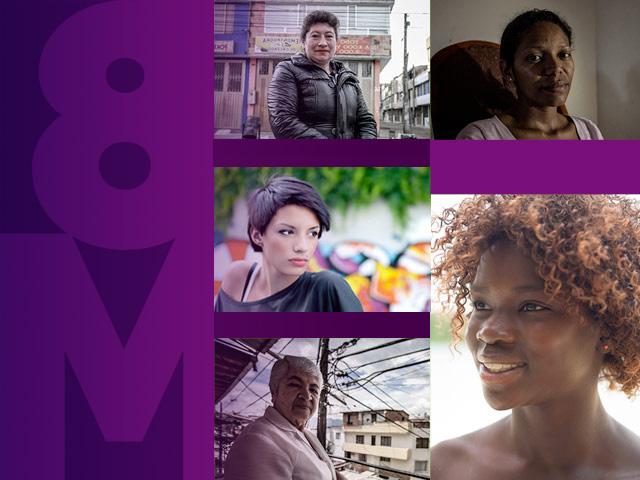 Collage de rostros de mujeres