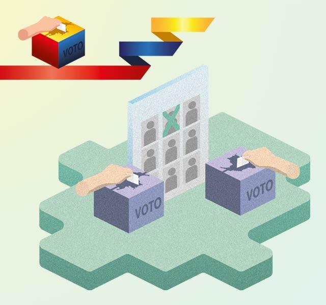 Ilustración de un puesto de votación