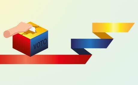 Ilustración de una mano votando y la bandera de Colombia.