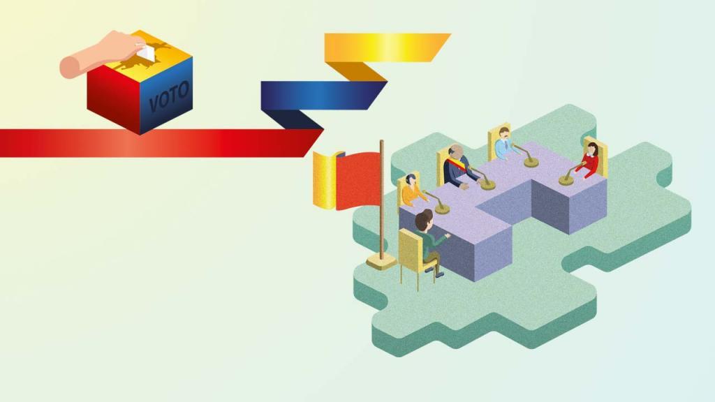 Ilustración de una mesa con varias personas, el alcalde y otros mandatarios.