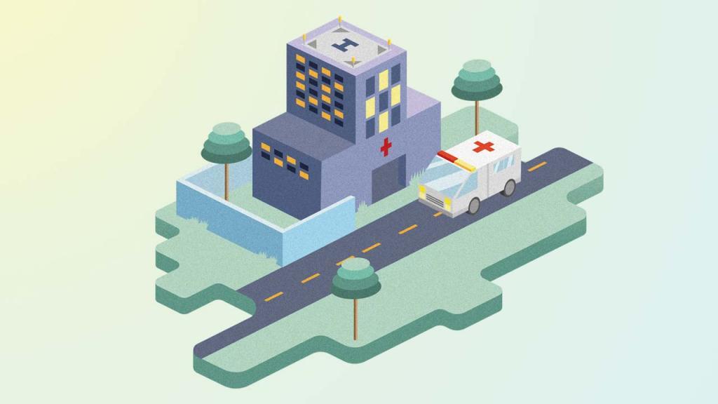 Ilustración de un edificio y una ambulancia que anda sobre una vía.