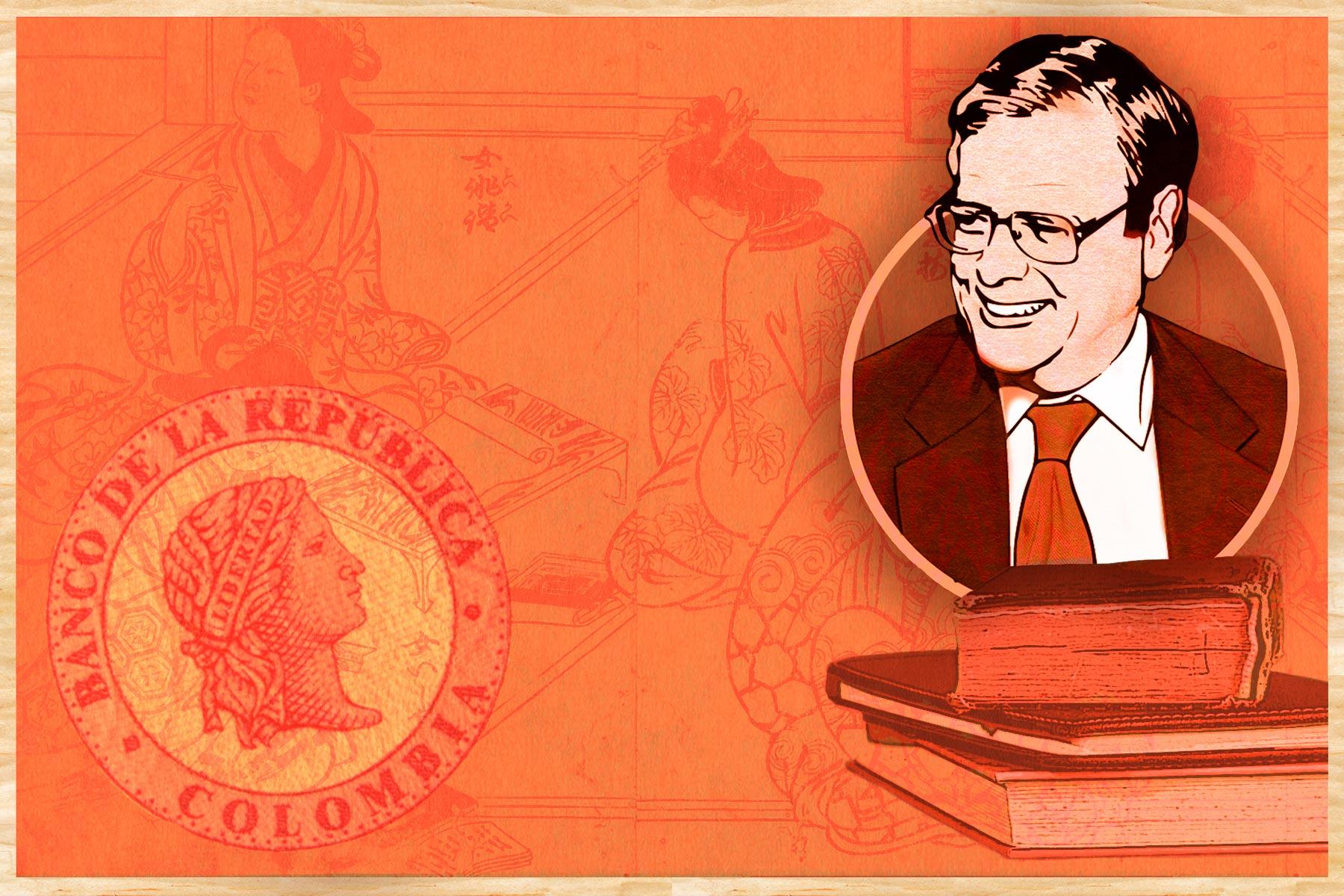 Ilustración del economista Miguel Urrutia acompañada de ilustraciones de libros y del sello del Banco de la República.