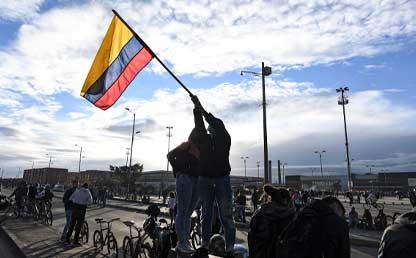 Foto de un manifestante en Colombia.