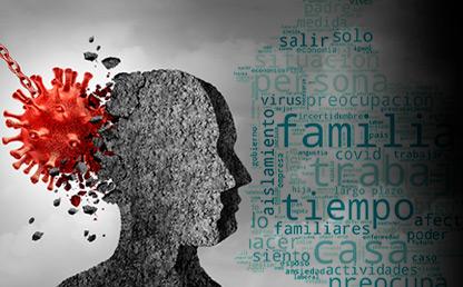 Ilustración de una cabeza humana con la figura de un virus que se estrella contra ella. Encuesta Covid