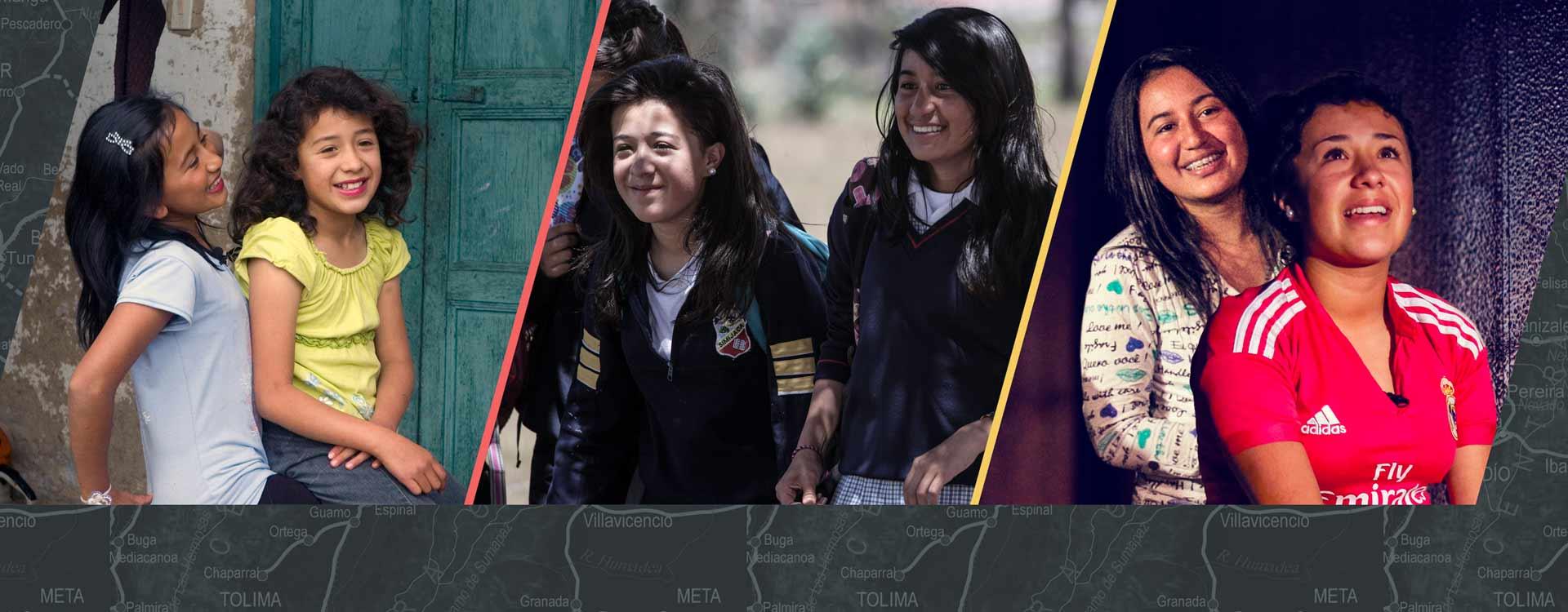 Tres fotos de las mismas niñas y sus cambios físicos durante 2010, 2013 y 2016
