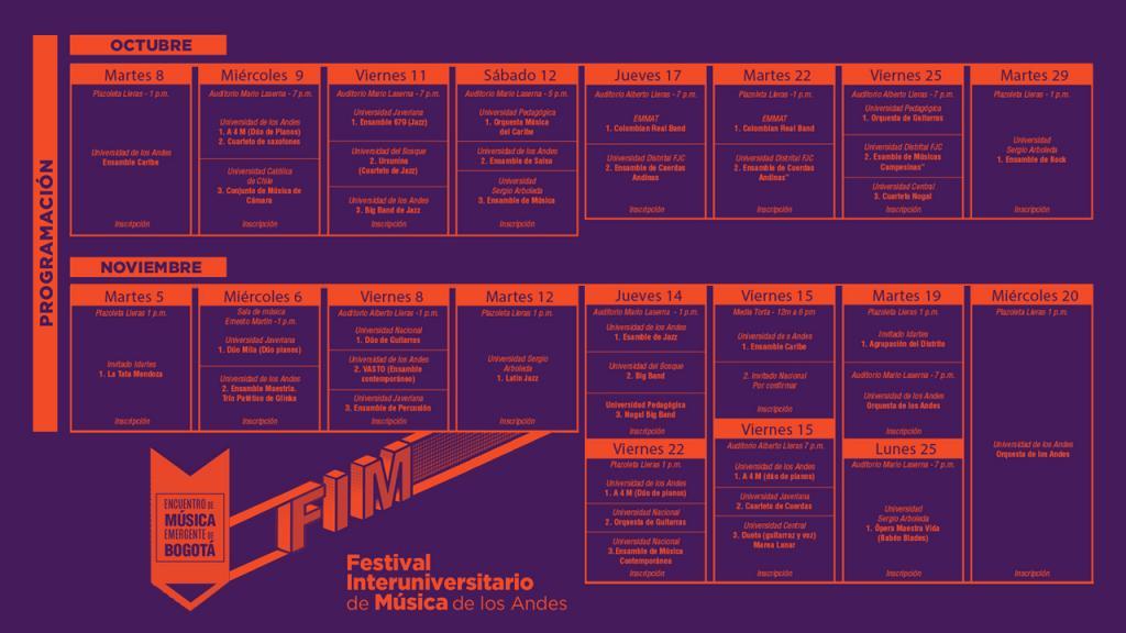 Programación del Festival Interuniversitario de Música de los Andes