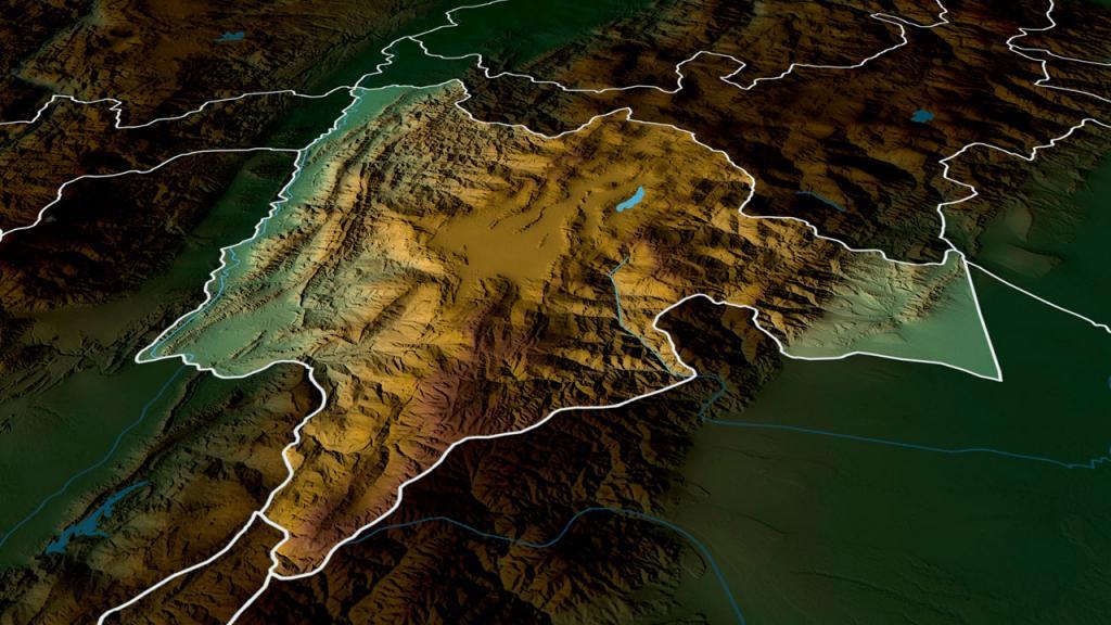 Mapa 3D de Cundinamarca.