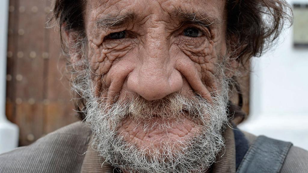 Fotografía del rostro de un Habitante de calle