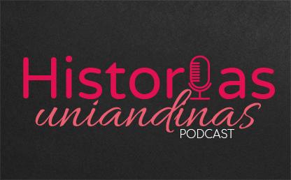 Banner fondo negro con letrero historias uniandinas podcast