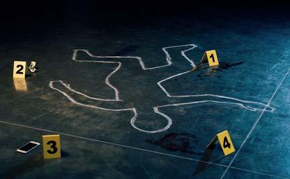 Imagen de una silueta de un hombre en una escena del crimen