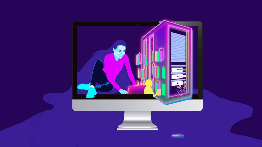 Ilustración de un hombre trabajando en un computador