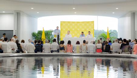 Opening ceremony of the Universidad de los Andes Caribbean campus in Cartagena on May 10, 2018.