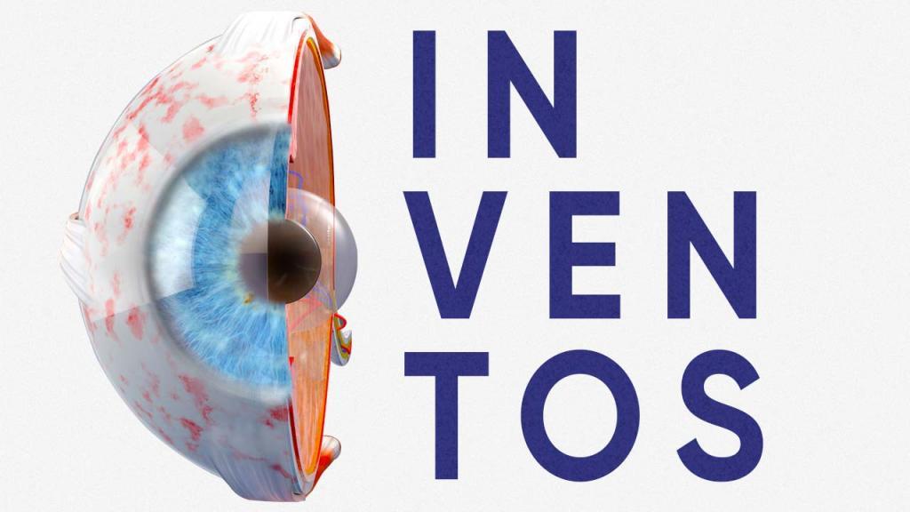 Gráfica de una pupila y la palabra Inventos.