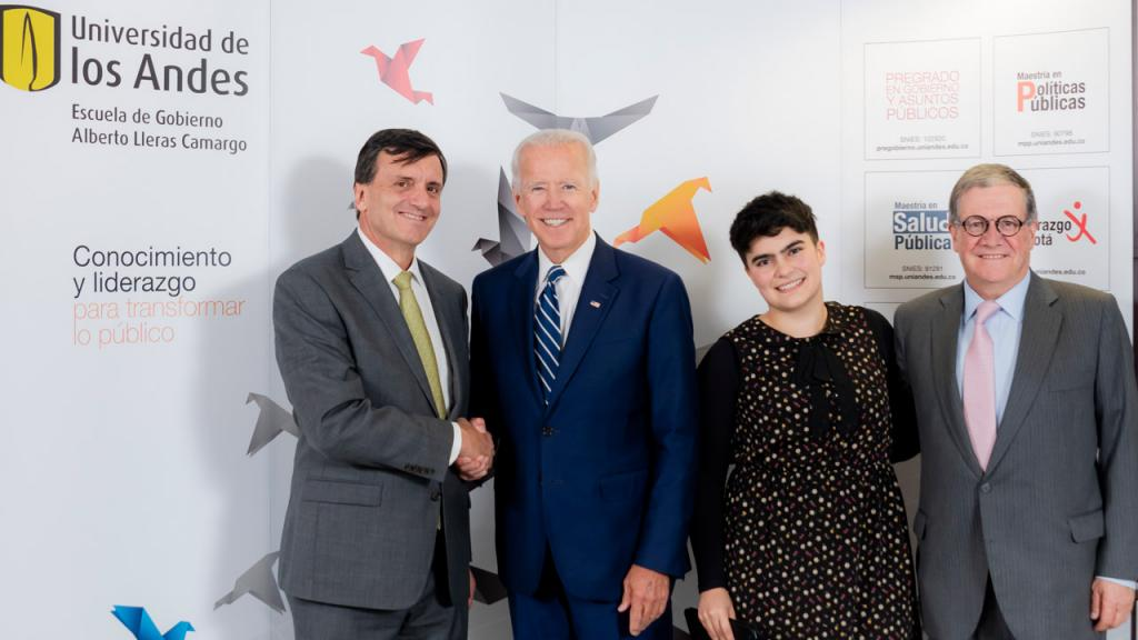 Eduardo Pizano, Joe Biden, vice-president of the United States of America, Ana Salazar, and Pablo Navas.