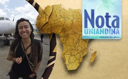 Mujer joven junto al mapa de África