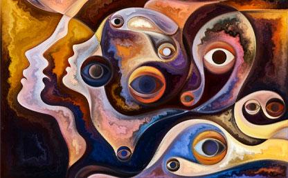 Ilustración de cabezas, en forma abstracta.
