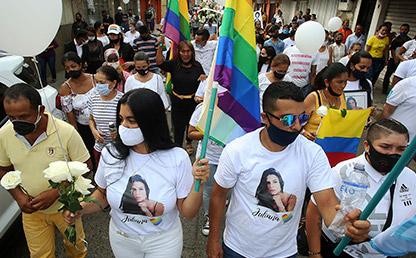 Marcha de la familia de Juliana Girado, mujer trans asesinada en el sur de Colombia.