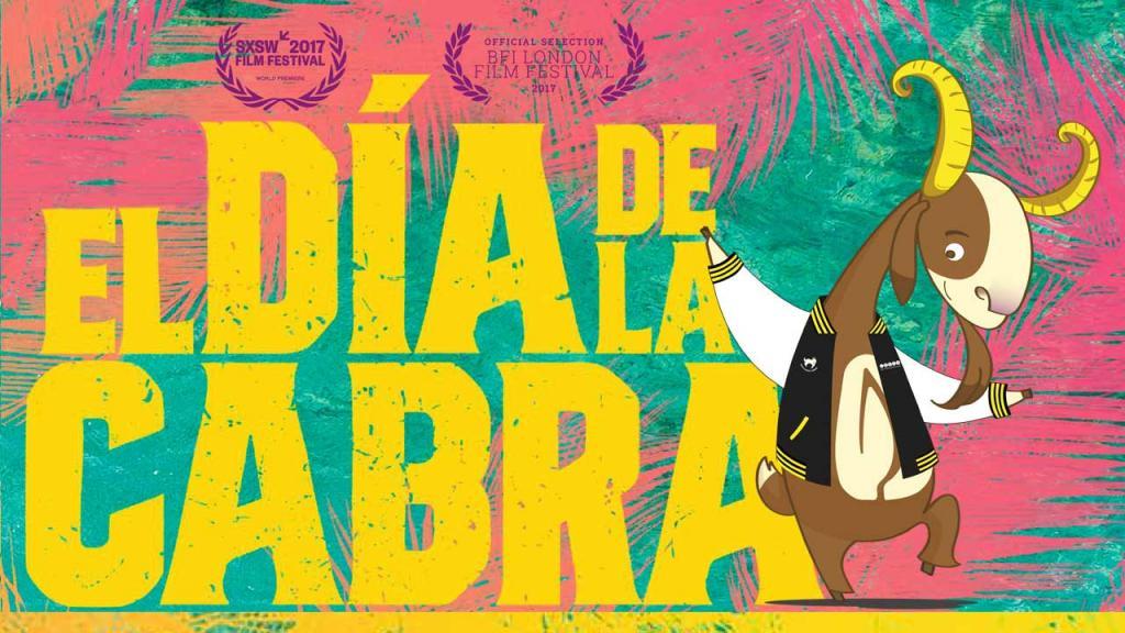 La mascota de Uniandes, Séneca, con el póster de la película El día de la cabra.