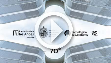 Imagen de la fachada de la Sede Caribe con los logos de las tres universidades de La Triada