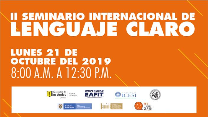 Imagen promocional del II Seminario Internacional de Lenguaje Claro en Uniandes