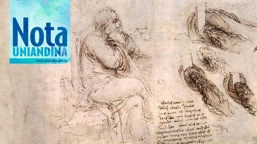 Dibujo de hombre con agua en movimiento. Leonardo da Vinci