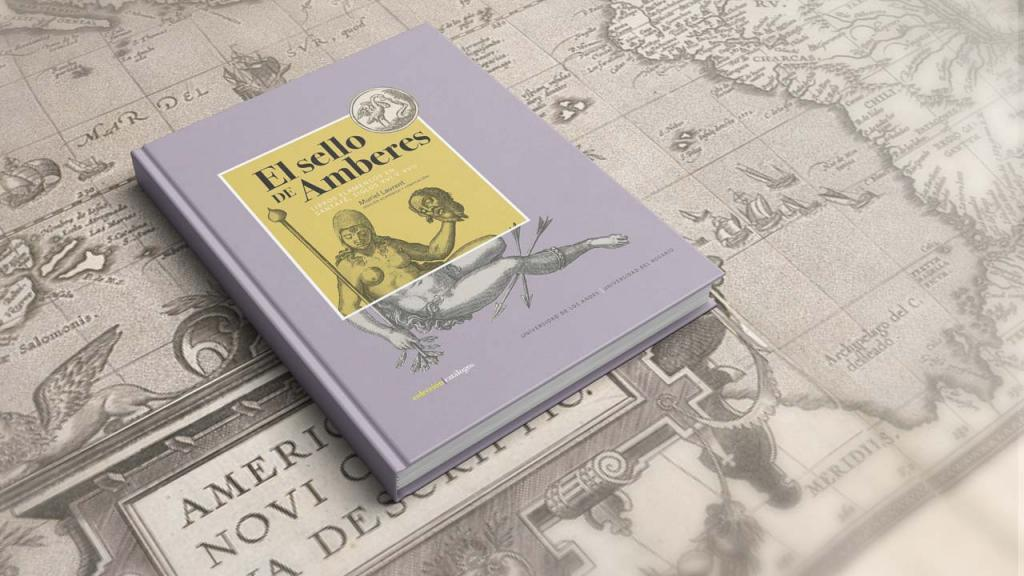 Portada del libro sobre un mapa publicado en Amberes.