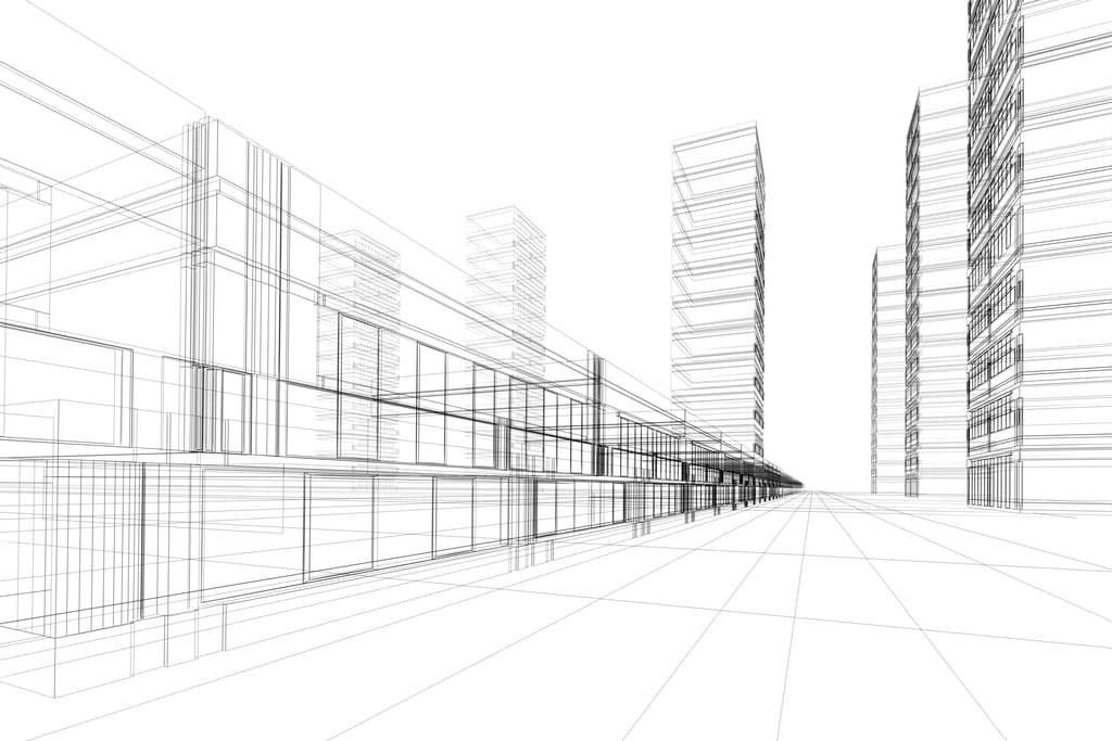 Ilustración del diseño de unos edificios