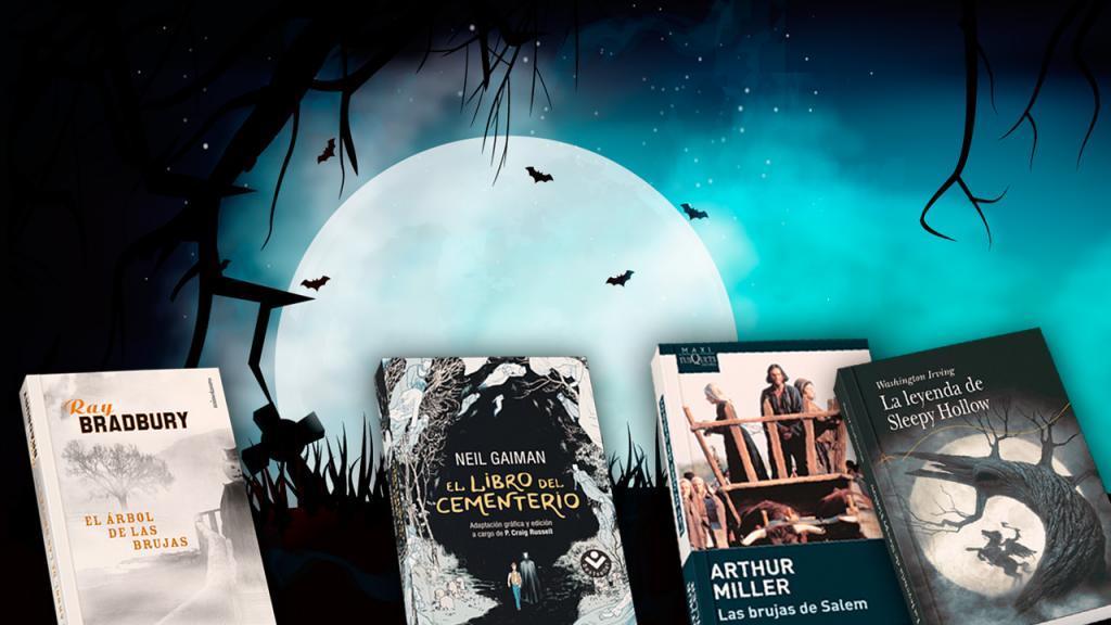 Una luna con cuatro libros recomendados para la temporada de Halloween.