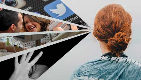 Mujer de espalda ve un collage de imágenes de la Maestría en Sociología de la Universidad de los Andes.
